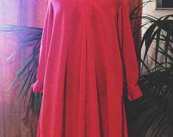 1960s Cherry Red A-Line Shift Dress