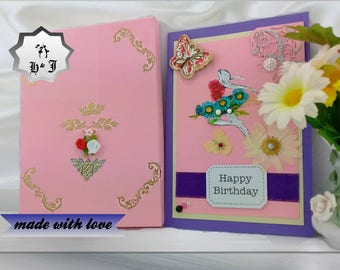 Happy birthday card. Girl birthday gift. Boxed birthday card. Pressed flowers. Handmade card. Girl birthday. Gift for her. Personalised card