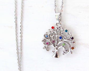 Family jewelry Birthstone family tree necklace - mom gift Family necklace mom necklace - Birthstone tree Family tree jewelry mother necklace