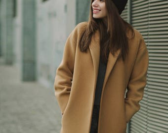 Camel coat / Woman wool coat / Loose fit camel coat