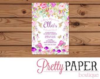 Enchanted Forest // Fairy Birthday Invitation - Digital or Printed