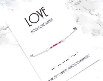 LOVE morse code bracelet, Valentines gift, simple minimalist chain bracelet, dainty delicate bracelet, Minimalist jewelry, personalized