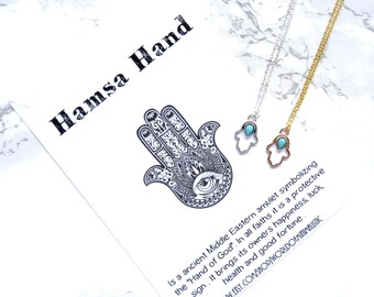 Bohemian hamsa hand necklace, turquoise hamsa hand necklace, minimalist dainty necklace, simple everyday necklace, protection necklace