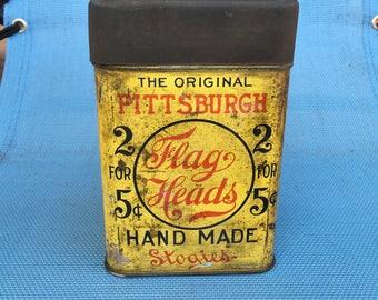 Pittsburgh Flag Heads Stogies Cigar Tin Tobacciana Rare Antique