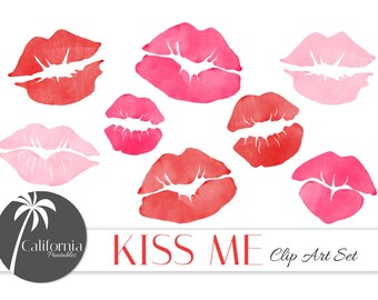 FREE COMMERCIAL USE Watercolor KIss Clip Art Set - Set of 15 - Kiss Me - Lips - Valentines Day Clip Art - Instant Download - Scrapbook