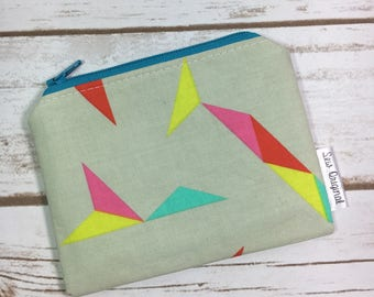 Coin purse, change purse, coin pouch, geometric fabric, small zipper pouch, ID wallet, grey fabric