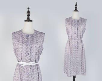 Floral Carved Round Collar Sleeveless Violet Vintage Women Dress Size M