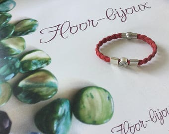 Lovely bracelet braided suede red boys and girls