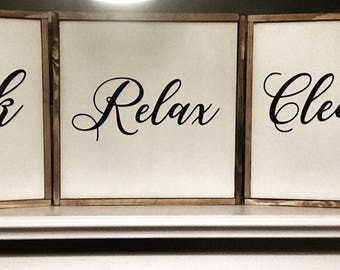 Set of 3 - Wash soak relax bathroom decor wooden sign wedding farmhouse