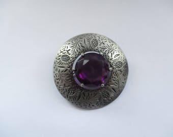 Vintage Celtic Pewter Brooch with Amethyst Glass Gemstone, Celtic Pin, Amethyst Brooch, Amethyst Pin, Celtic Jewellery