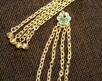 Set of 2 gold metal tassel charm