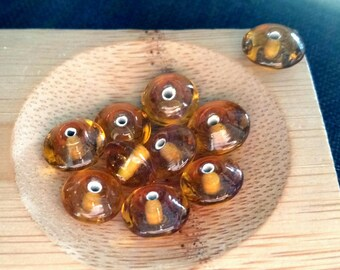 Set of 10 Brown bicone glass beads