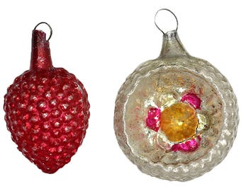 Antique Christmas Ornaments, Vintage Feather Tree Ornaments, Mercury Glass Ornaments, Berry, Reflector, Pink, Red, White