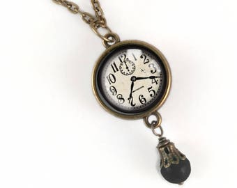 Victorian Clock  Necklace