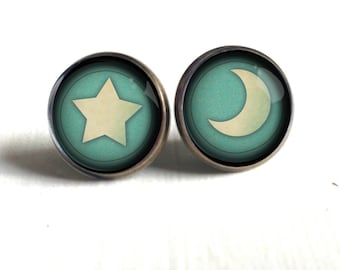 Moon and Star Stud Earrings in Teal