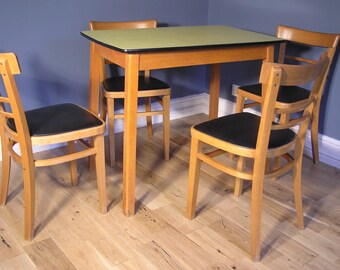 Vintage 1950's Yellow Formica Table and Chair Dining Set