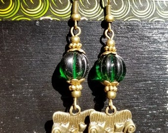 Couch Tour, Dangle Earrings, Green Glass, Melon Bead, Antique Bronze