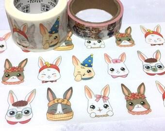 cute Rabbit washi tape 7M x 3cm bunny rabbit party masking tape flower crown party hat rabbit sticker tape rabbit theme planner sticker gift