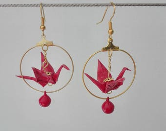 Crane origami and Bell earrings