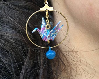 Bell and origami crane earrings