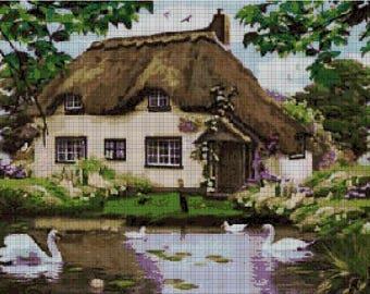 Landscape with swan cross stitch pattern in pdf