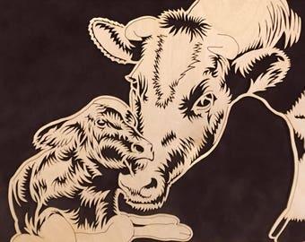 "Cow and Calf Portrait, ""Springtime"" Portrait by Jay Roberts, Fresian Cow, Bovine Portrait, Cow Art, Animal Art, Wooden Portrait, Scroll Saw"
