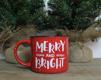 Merry and Bright Coffee Mug, Christmas Mug, Merry and Bright, Coffee Mug, Christmas Coffee Mug, Merry & Bright, Camping Mug, Camper Mug