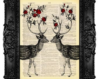 Dictionary Art Deer Antler Decor Antler Art Two Deers with Flower Antlers Vintage Antique Book Page Print on Dictionary Paper 440