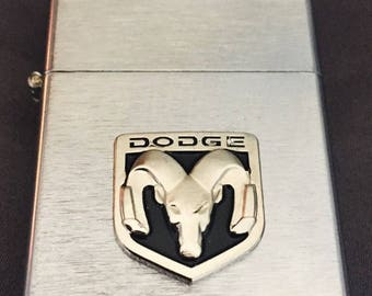 Dodge Ram Brushed Silver Windproof Lighter