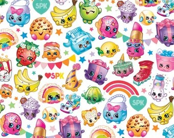 Moose Shopkins Packed Rainbow Cotton Fabric from Springs Creative licensed, woven cotton, white, logo, characters, fabric, kids, toss