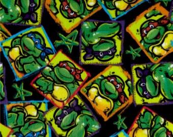 TMNT Turtles and Stars Fleece from Springs Creative - nickelodeon polyester teenaged mutant ninja turtles by the yard metre 594691100710