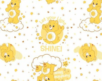 White Care Bears Funshine Bear Cotton fabric from Camelot Fabrics 44010106-1 America Greetings fabric by yard metre quilting licensed