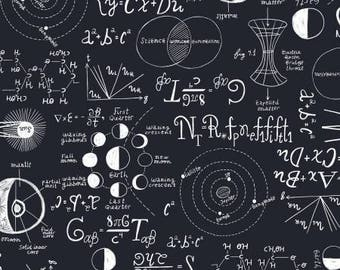 Navy Chalkboard Cotton Fabric from Rae Ritchie For Dear Stella ST-SRR804NAV scientific math equations yardage quilting physics metre yard