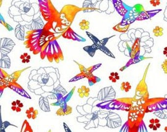 Flight of Colors White from Kona Bay Out of Print Bright Hummingbird quilting cotton asian fabric colourful red orange