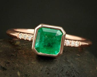 Cushion Green Emerald Engagement Ring - Micro-Pave Diamonds on band
