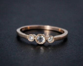 ON SALE Rose Gold Diamond Ring - Rose Cut Diamond - Non-Traditional Engagement Rings