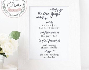 Beauty and the Beast Print || Be Our Guest || Menu Design || Digital Print || Wall Art || Home Accessory