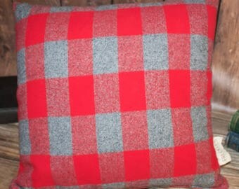 Red and Grey Plaid Pillow. OSU Pillow. Buckeye Pillow. Flannel Pillow. Decorative Pillow. Farmhouse Decor. Throw Pillows. Home Decor.