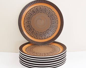 Electra Stoneware - Athena - Large dinner plates - 9 Available  - 70's Era