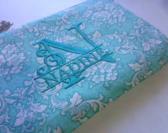 Personalised, embroidered, monogram clutch, cosmetic bag, zipper pouch, pencil case, bridesmaid clutch, bag