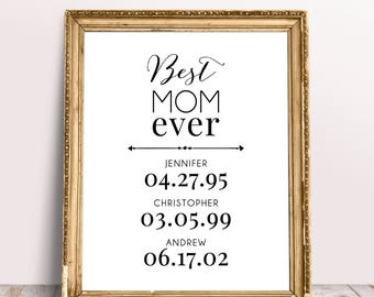 Best Mom Ever Custom Print, Custom Mothers Digital Download, Personalized Gift For Mom, Mother's Day Gift, Kids Name & Birthday - (D217)
