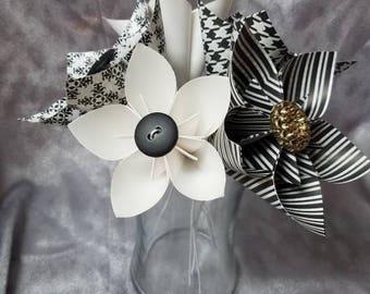 Black and White Kusudama Paper Flowers
