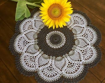 Gray Lace Doily - Coffee Table Doily - Pineapple Crochet Doily - Handmade Doilies - Rustic Decor - Table Decor - Housewarming Gift
