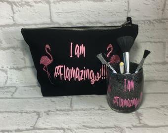 Flamingo Makeup Bag, Flamingo Accessory Bag, Flamingo Brush Holder, Makeup Brush Holder, Glitter Brush Holder, Cosmetic Bag, Makeup Set.