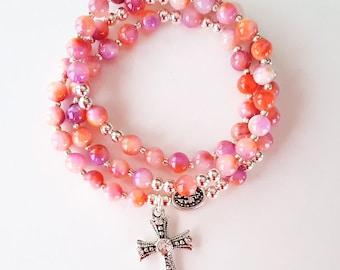 Coral / Lilac Jade Stretch Rosary Bracelet