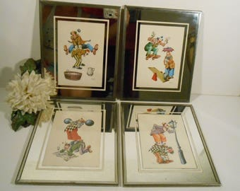 Set of 4 Vintage 1977 Clown Lithougraph BY Lluis Casamitjana with miorrored frame