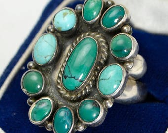 Vintage STERLING SILVER & TURQUOISE Native American Adjustable Ring Signed Nakai