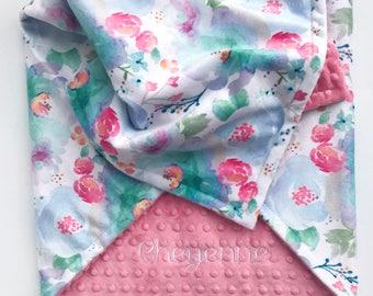 Personalized Baby Blanket - Minky Baby Blanket - Monogram Baby Blanket - Floral Baby Blanket - Baby Girl Blanket - Newborn Baby Blanket