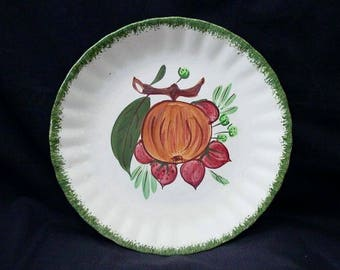 "Blue Ridge Plate COUNTY FAIR Strawberries Pomegranate Green Edge 8.25"" Salad (Avon) Southern Potteries Handpainted Red Fruit (B34) 9991"