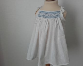 Tank top with straps smocked handmade, 4t